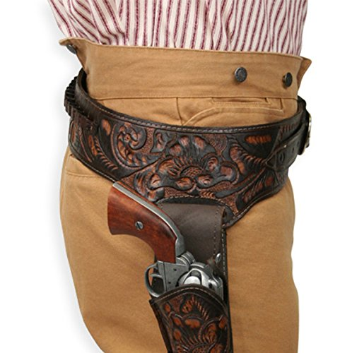 Historical Emporium Men's Right Hand Tooled Leather Western Gun Belt and Holster .44/.45 Cal 40 Two-Tone Brown