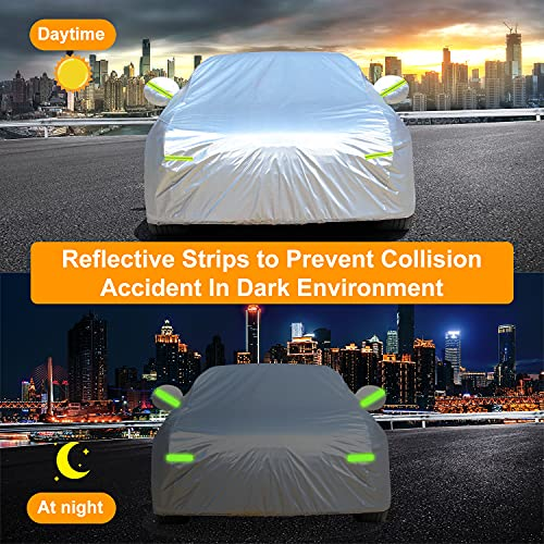 Car Cover, GORDITA Car Covers Waterproof All Weather Snowproof Windproof Scratch Resistant Outdoor UV Protection with 6 Reflective Strips, Universal Fit for Sedan (Up to 185\