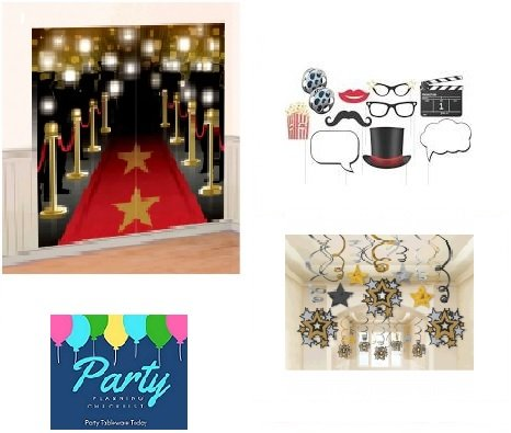 Hollywood Theme Mega Decorating Pack Including:Mega Swirl Hanging Decorations, Red Carpet Scene Setter & Movie Theme Photo Booth Props (Red Carpet Theme Party Decorations)