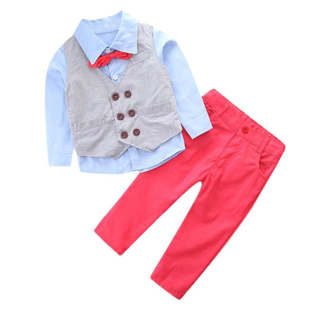 Boys Gentleman Sets,Jchen(TM) Baby Boys Kids Little Boy Gentleman Bow Tie Outfits Long Sleeve Shirt + Long Pants+Vest Clothes Set for 2-7 Y (Age: 5 T)