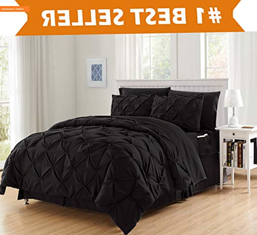 Mikash Luxury Best, Softest, Coziest 6-Piece Bed-in-a-Bag Comforter Set on ! - Silky Soft Complete Set Includes Bed Sheet Set with Double Sided Storage Pockets, Twin/Twin XL, Black | Style - Natural Needlepoint Shells