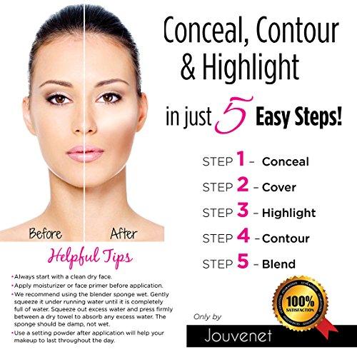 Amazon.com : Contour 15 Color Cream Concealer Makeup Palette; Jouvenet Illusion Concealer Palette, Beauty Sponge Blender, Foundation Brush, Instruction Card ...
