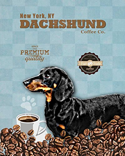 (Ideogram Designs Dachshund Coffee Co. Vintage Dog Poster Print 11x14 - Customizable City and State- Please email Directly After)