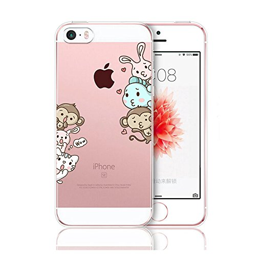 Matop Compatible for iPhone 5S 5 SE Case Crystal Clear Transparent Ultra Thin Slim Shockproof Protective Soft Silicone Cover Cute TPU for iPhone 5S iPhone 5 iPhone SE (Animals Monkey) ()