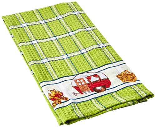 TAG 206101 Camping Embroidered Waffle Weave Dishtowel, Green, 18