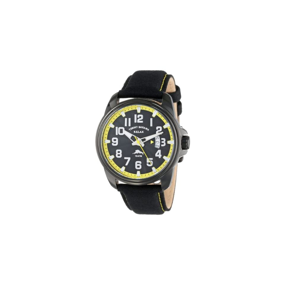Tommy Bahama RELAX Mens RLX1215 Beach Cruiser Black Dial Yellow Dial Ring Canvas Strap Watch