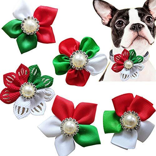 Masue Pets Christmas Dog Flower, Cat Dog Bowtie Holidays,5pcs Diamand Dog Collar Charms Elegant Cat Dog Flower 2.3″ Dog Christmas Accessories