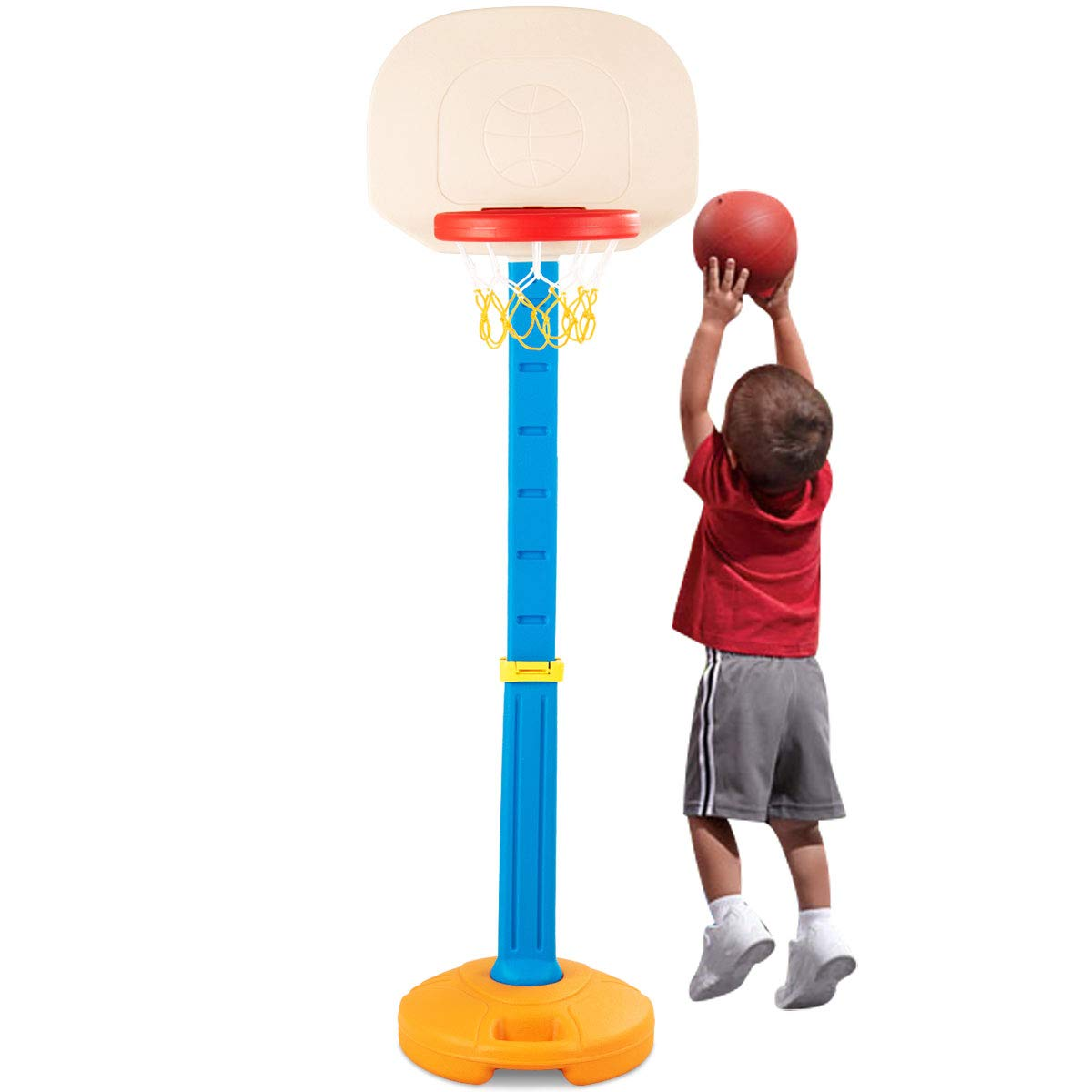 Costzon Kids Basketball Stand, Basketball Hoop Adjustable Height, Kids Play Toy, Portable Design Indoor Outdoor (Height Adjusts from 4 to 5.5 Feet) by Costzon