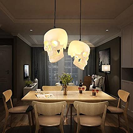 Shiem Skull Chandelier Halloween Creative Restaurant Pendant Lights Retro Art Bar Ceiling Hanging Lamp Clothing Store Lighting E27 110v 220v