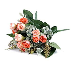 Artificial Flower 7 Branch Bounquet Artificial Small Rose for Home Decor Without Vase & Basket, 1 Flower, Orange 61