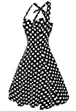 Anni Coco Womens Halter Polka Dots 1950s Vintage Swing Tea Dress