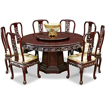 China Furniture Online Rosewood Dining Table 60 Inches Queen Ann Grape Motif Round Set With 8 Chairs Dark Cherry Finish