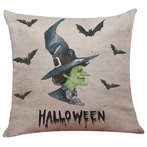 Pillowcases,Han Shi Happy Halloween Pillow Cases Covers Home Sofa Decor New Knitted Cushion Cover (M, Colorful)