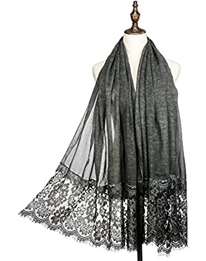 Women Fashion Scarf Wrap Shawl,RiscaWin Winter Soft Lightweight Lace Scarves Perfect Thanksgiving/Christmas Gifts