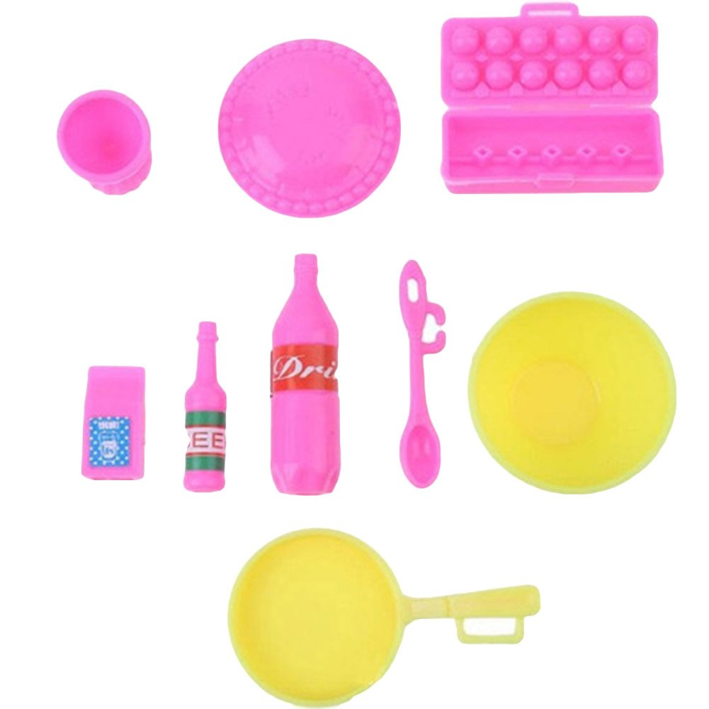 Random Color 96308-Timeracing Kid Girl Birthday Toy Play House Plastic Kitchen Ware Cooking Utensil for Doll Decor Gift