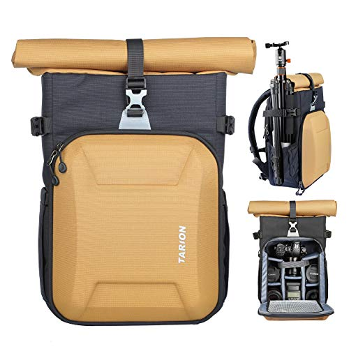 TARION XH Camera Bag Hardcase Camera Case Roll Top Camera Backpack | 15″ Laptop Compartment Waterproof Raincover for DSLR Mirrorless Cameras Lens Tripod Outdoor Men Women