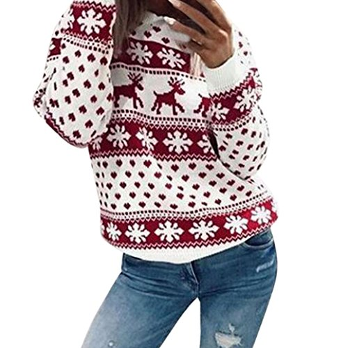 Kimloog Hot Sale!Women Ugly Xmas Christmas Snowflakes Background Print Long Sleeve Sweatshirts Pullover O-Neck Sweater (M, Red) for $<!--$5.99-->