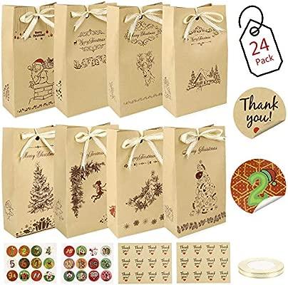 Gafild Bolsas de regalo navidad, 24pcs bolsas para regalos de boda Bolsas de Papel Kraft con 48 Pegatinas para Boda Fiestas Cumpleaños Comida ...