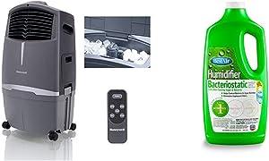 Honeywell 525 CFM Indoor Outdoor Portable Evaporative Cooler, 525CFM, Grey & BestAir 3BT-PDQ-6 Original BT Humidifier Bacteriostatic Water Treatment, 32 fl oz, Single Pack, Green