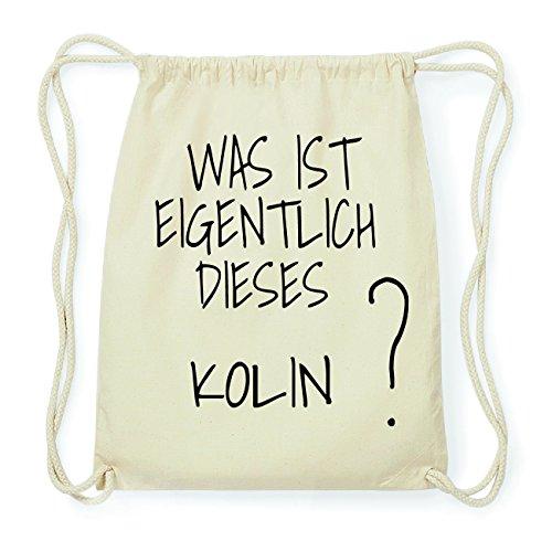 JOllify KOLIN Hipster Turnbeutel Tasche Rucksack aus Baumwolle - Farbe: natur Design: Was ist eigentlich dh0MiLkUD