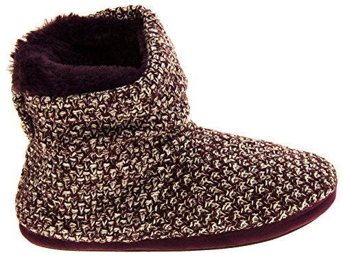 515Q8bK8llL - Coolers Womens Plum Warm Knitted Winter Fur Lined Slipper Boots 9-10 B(M) US
