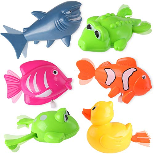 Liberty Imports Set of 6 Wind Up Sea Animal Water Toys for Bath (Includes Duck, Fish, Shark, Frog, - Duck Up Wind