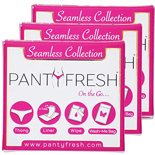 Panty Fresh On-The-Go 4in1 Women's Emergency Pocket Size Travel Kit | Includes Seamless Underwear, Pantyliner, Fresh Wipe & Wash Bag (Thong/Small/3Pack)