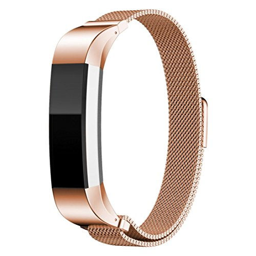 Fitbit Alta Smart Watch Band , HARRYSTORE Magnetic Milanese Loop Stainless Steel Bracelet Strap Replacement Wrist Band for Fitbit Alta Watch (Rose Gold)
