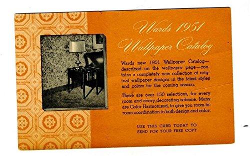 1951 Montgomery Ward Wallpaper Catalog Request Postcard Chicago Illinois -