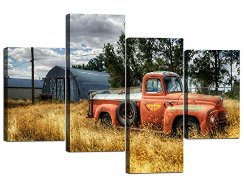 (Wall Art for Living Room Vintage Rustic Car Wildlife Picture Home Decorations 4 Panels Painting on Canvas Posters and Prints Framed Stretched (40