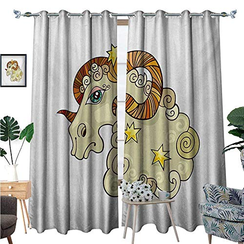 BlountDecor Zodiac Aries Patterned Drape for Glass Door Cartoon Comic Style Ram Animal Fluffy Funny Cosmic Character with Yellow Stars Waterproof Window Curtain W96 x L108 Multicolor