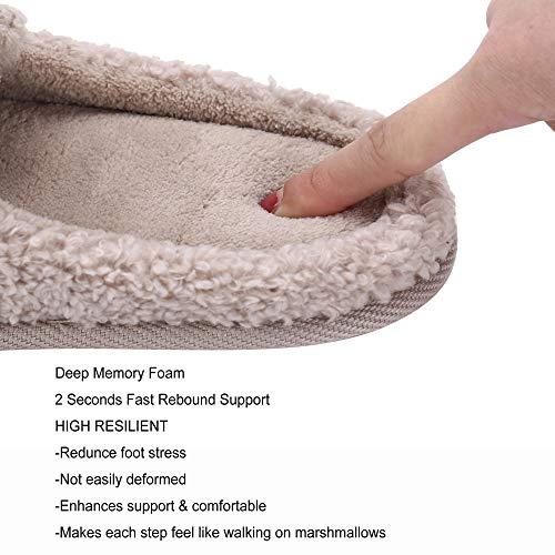 Womens Cute Animal Slippers Soft Fleece Plush Home Slippers Slip On Memory Foam Cotton Clog House Slippers, Beige, US Women 6.5-7.5 / Men 6-7