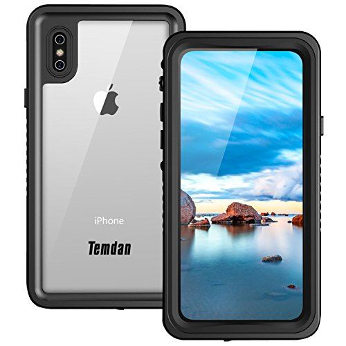 Price comparison product image iPhone X Waterproof Case, Temdan UNIQUE Series Waterproof Full-body Rugged Case with Built-in Screen Protector for Apple iPhone X 2017 / iPhone10 Release (Black/Clear)