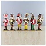 "Anlydia 5pcs or 6pcs Wooden Nutcracker Ornament Set Handpainted Assorted Set Christmas Gift 5"" Tall Christmas Home Ornament Set"