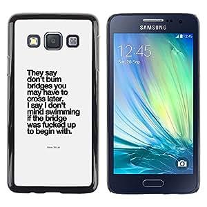 Caucho caso de Shell duro de la cubierta de accesorios de protección BY RAYDREAMMM - Samsung Galaxy A3 SM-A300 - Poster Black
