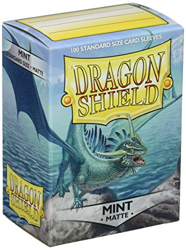 (Dragon Shield Deck Protective Sleeves for Gaming Cards, Standard Size (100 sleeves), Matte Mint - AT-11025)