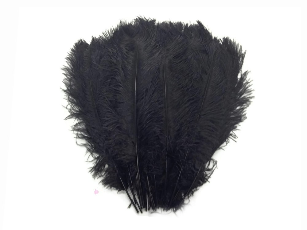 Moonlight Feather | 1/2 lb - 17-19'' Black Large Ostrich Drab Wholesale Feathers (Bulk) Centerpiece Party Supply