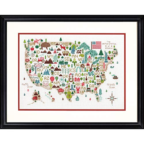 Darice Dimensions 'Illustrated USA' Patriotic 50 States Counted Cross Stitch Kit, 14 Count White Aida Cloth, 14