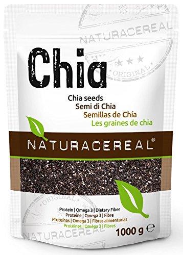 NATURACEREAL Semillas de Chia Calidad Premium 1.000g - | Chia significa FUERZA en el idioma Maya | Alto contenido de Fibras | Proteinas | Ácidos ...