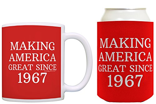 Republican Gifts for 50th Birthday Making America Great Since 1967 50th Birthday Gag Gifts for Republican Party Coffee Mug & Can Coolie Bundle Red (Great Delivery Gifts)