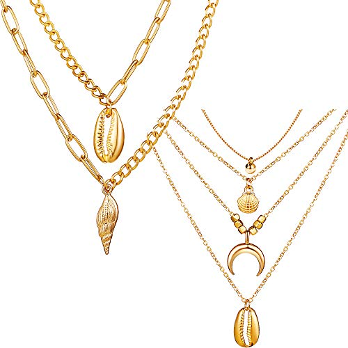 - 17KM Gold Conch Shell Layered Necklace for Women - 2pcs/Set Summer Boho Necklace Chain with Pendant Horn Moon Choker Necklaces Sister Mother Jewelry Gift for Girls