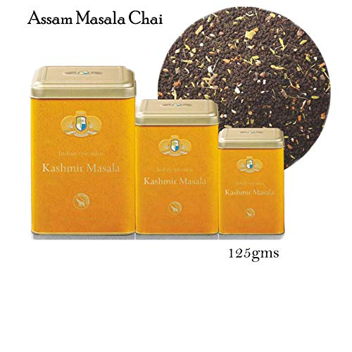 INDIAN SPLENDOR Kashmir Masala - Exclusively Handpicked, Premium Assam Black Leaf Tea with Premium Spices- Cinnamon, Cardamom, Ginger, Cloves, Liquorice, Fennels and Pepper. (Robust and Rejuvenating)