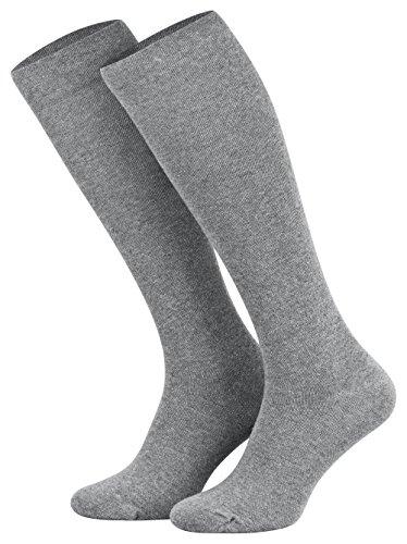 Tobeni 2 Pares de Medias de Compresion Calcetines de Rodilla de Algodon para Mujer y Hombre Plateado