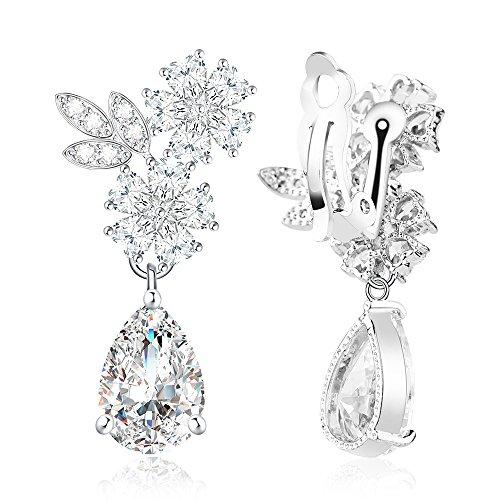 Roslynd Clip on Earrings for Women, Cz Teardrop Earrings 14k White-Gold-Plated, Cubic Zirconia Bridal Earrings (Zirconium Ring 14k Cubic)