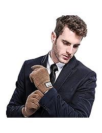 Golovejoy Touch Screen Full Finger Wool Men Autumn Winter Gloves