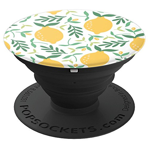 (Yellow Lemon with Green Leaves Patterned - PopSockets Grip and Stand for Phones and Tablets)
