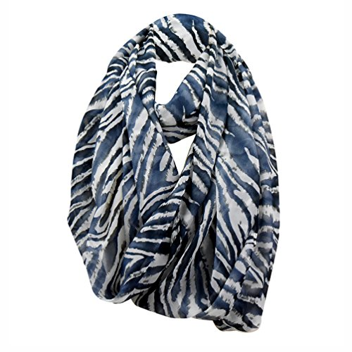 Chiffon Infinity Scarf for Women, Blue Grey Animal Print, One Size