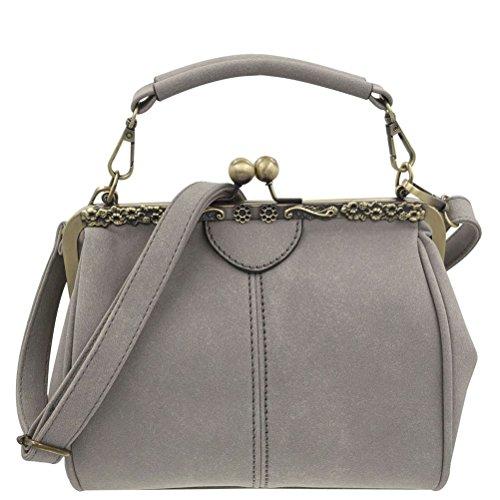 Suede Satchel Purse - Donalworld Women Retro Kisslock Handbag Purse PU Leather Bag Metal Frame Tote D