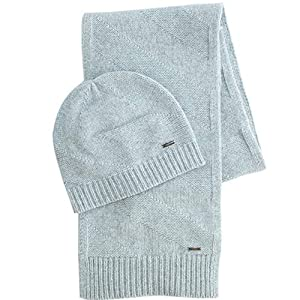 BOSS Hugo Zanto Wool Grey Hat & Scarf Set One Size