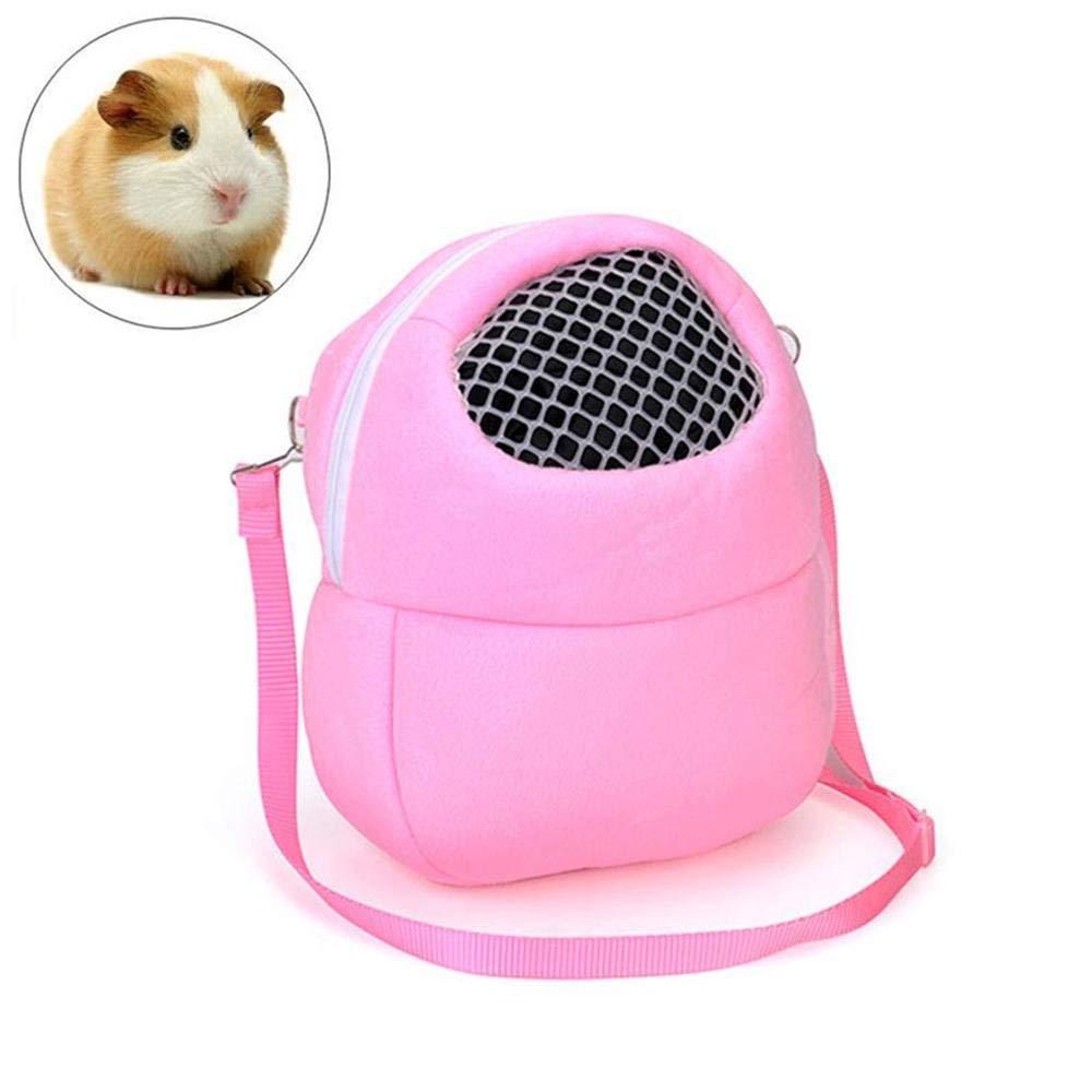 SEnjoyy Sacs de Transport pour Animaux de Compagnie Hamster Rat Hedgehog Rabbit Sac de Couchage Respirant Portable Voyage sortant Sacs à Main Sac à Dos avec bandoulière(Rose) Enjoying Your Lifes